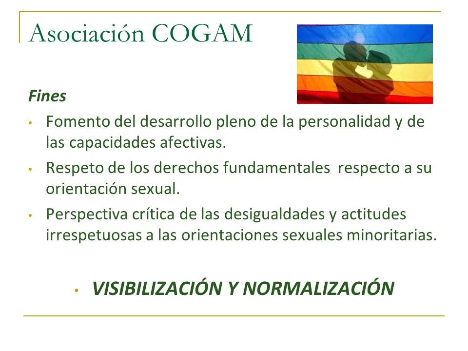Asociación COGAM Fines Fomento del desarrollo pleno de la personalidad y de las capacidades afectivas. Respeto de los derechos fundamentales respecto