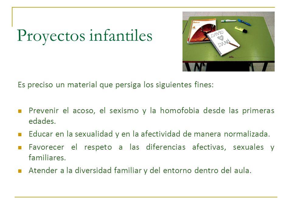 Proyectos infantiles Es preciso un material que persiga los siguientes fines: Prevenir el acoso, el sexismo y la homofobia desde las primeras edades.