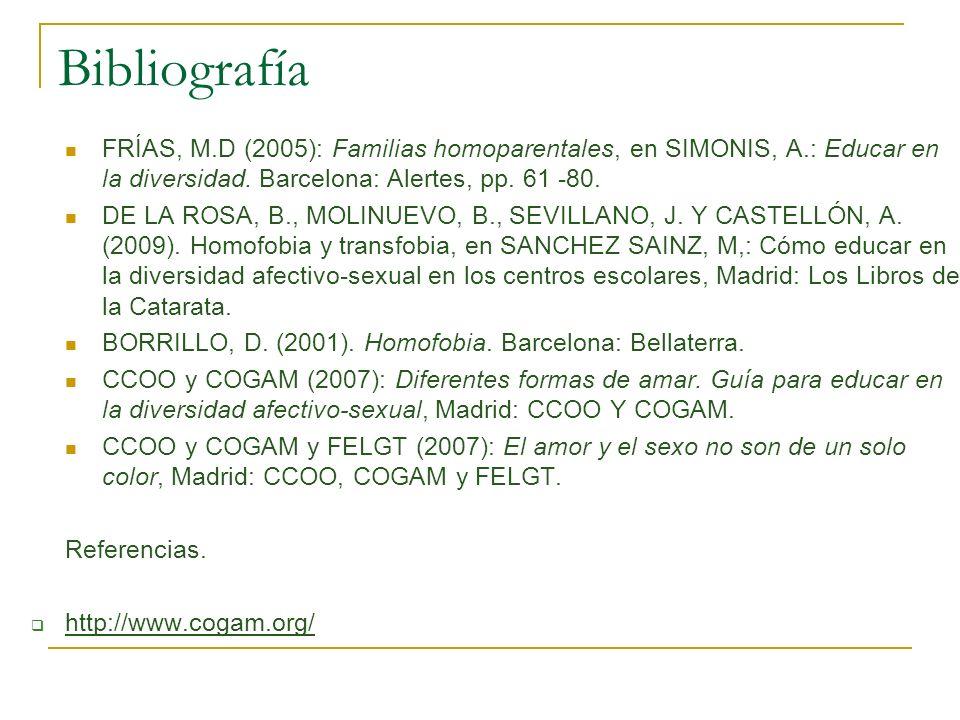 Bibliografía FRÍAS, M.D (2005): Familias homoparentales, en SIMONIS, A.: Educar en la diversidad. Barcelona: Alertes, pp. 61 -80. DE LA ROSA, B., MOLI