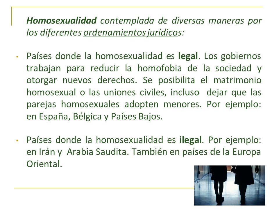 Homosexualidad contemplada de diversas maneras por los diferentes ordenamientos jurídicos: Países donde la homosexualidad es legal. Los gobiernos trab