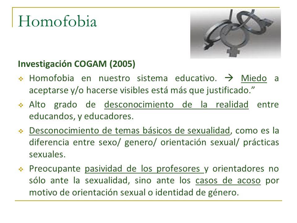 Homofobia Investigación COGAM (2005) Homofobia en nuestro sistema educativo. Miedo a aceptarse y/o hacerse visibles está más que justificado. Alto gra