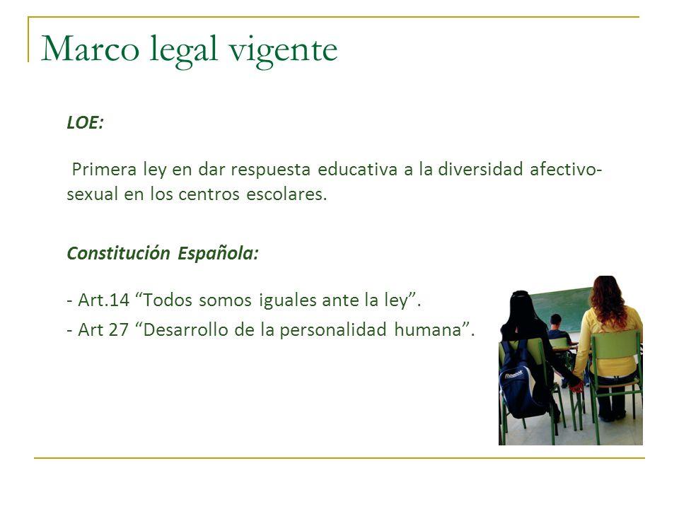 Marco legal vigente LOE: Primera ley en dar respuesta educativa a la diversidad afectivo- sexual en los centros escolares. Constitución Española: - Ar