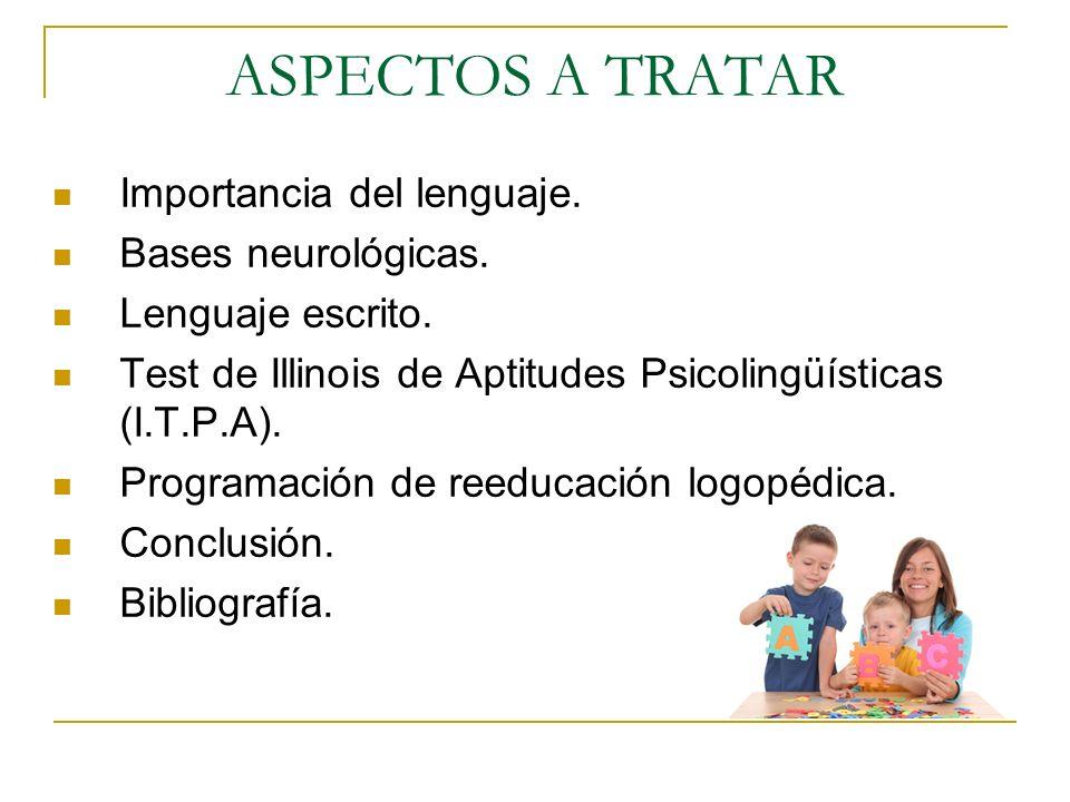 ASPECTOS A TRATAR Importancia del lenguaje. Bases neurológicas. Lenguaje escrito. Test de Illinois de Aptitudes Psicolingüísticas (I.T.P.A). Programac