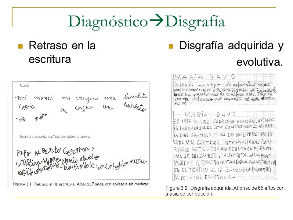 Diagnóstico Disgrafía Retraso en la escritura Disgrafía adquirida y evolutiva. Figura 3.2. Disgrafía adquirida. Alfonso de 65 años con afasia de condu