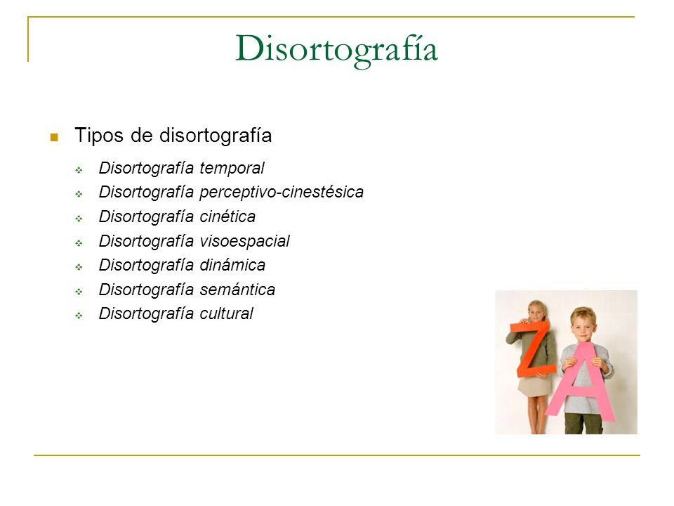 Disortografía Tipos de disortografía Disortografía temporal Disortografía perceptivo-cinestésica Disortografía cinética Disortografía visoespacial Dis