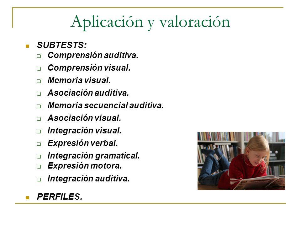 Aplicación y valoración SUBTESTS: Comprensión auditiva. Comprensión visual. Memoria visual. Asociación auditiva. Memoria secuencial auditiva. Asociaci