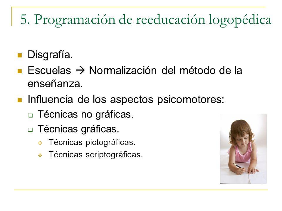 5. Programación de reeducación logopédica Disgrafía. Escuelas Normalización del método de la enseñanza. Influencia de los aspectos psicomotores: Técni