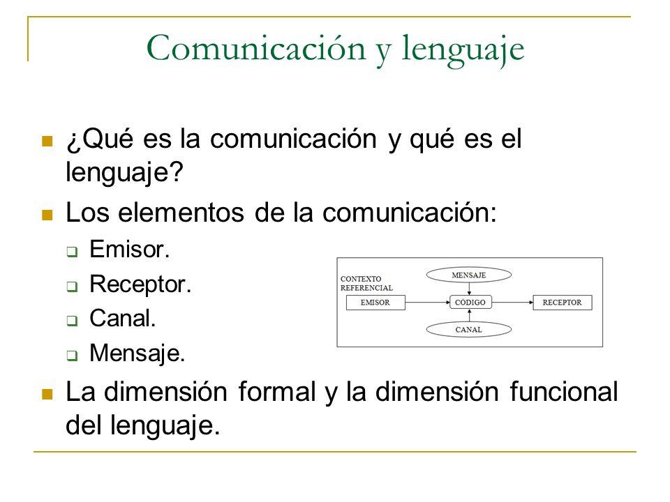 Comunicación y lenguaje ¿Qué es la comunicación y qué es el lenguaje? Los elementos de la comunicación: Emisor. Receptor. Canal. Mensaje. La dimensión
