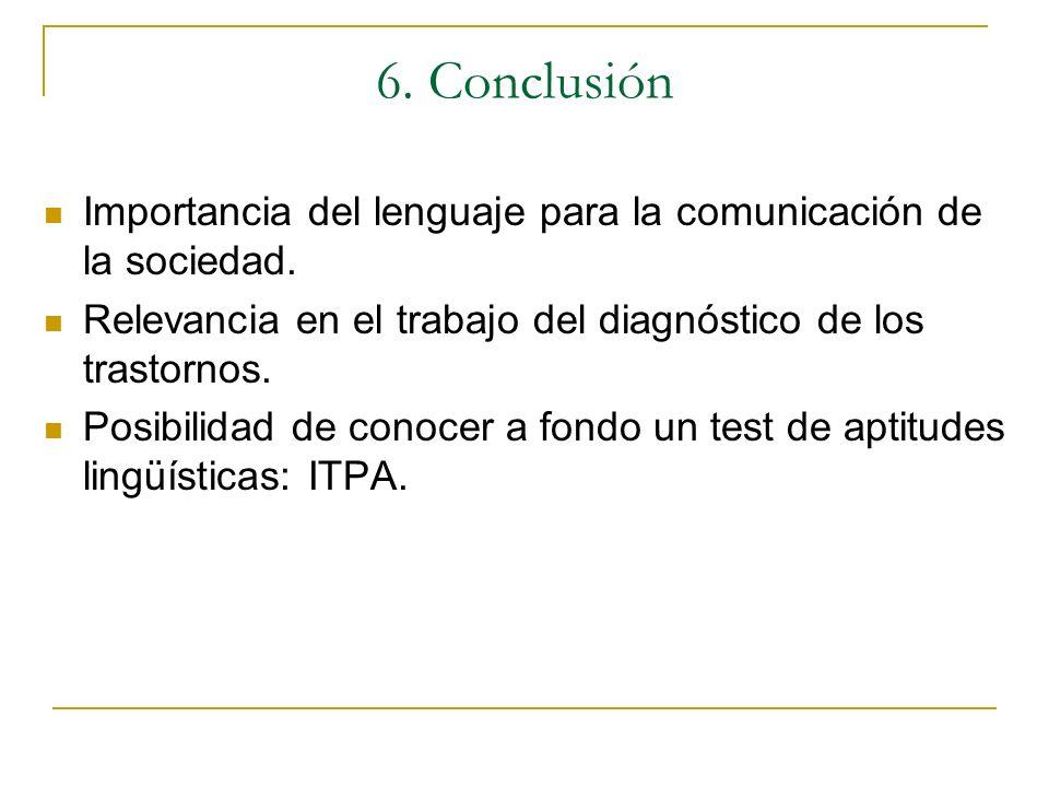 6. Conclusión Importancia del lenguaje para la comunicación de la sociedad. Relevancia en el trabajo del diagnóstico de los trastornos. Posibilidad de