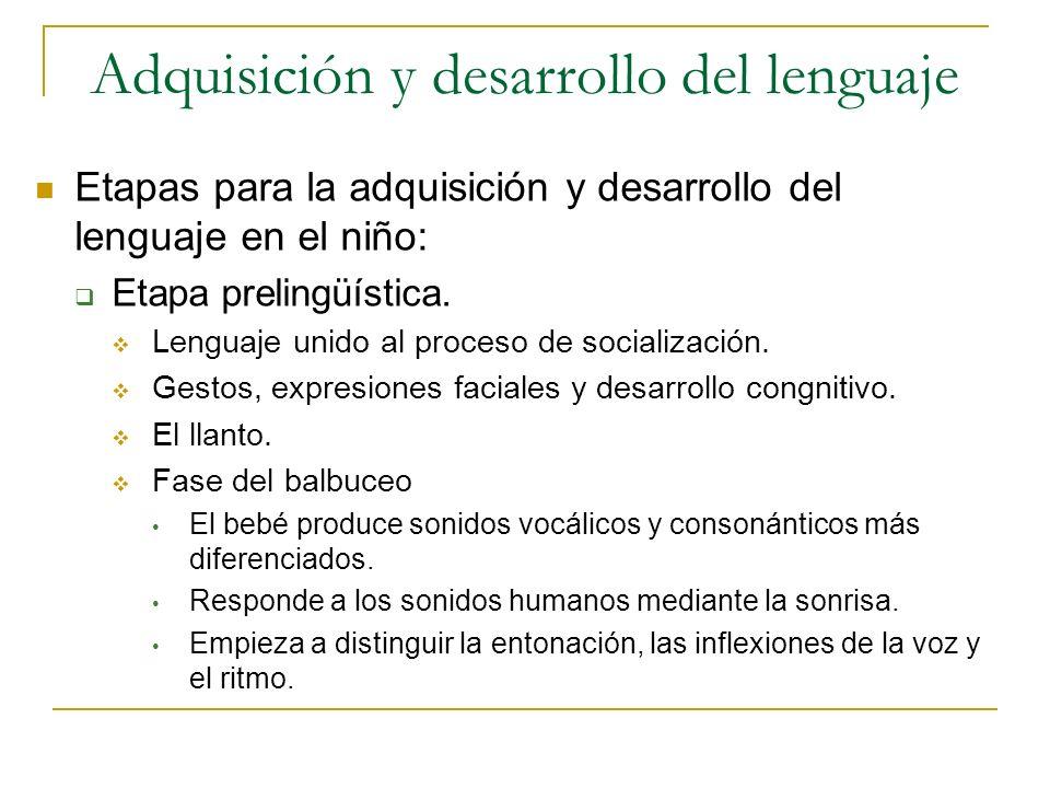Adquisición y desarrollo del lenguaje Etapas para la adquisición y desarrollo del lenguaje en el niño: Etapa prelingüística. Lenguaje unido al proceso