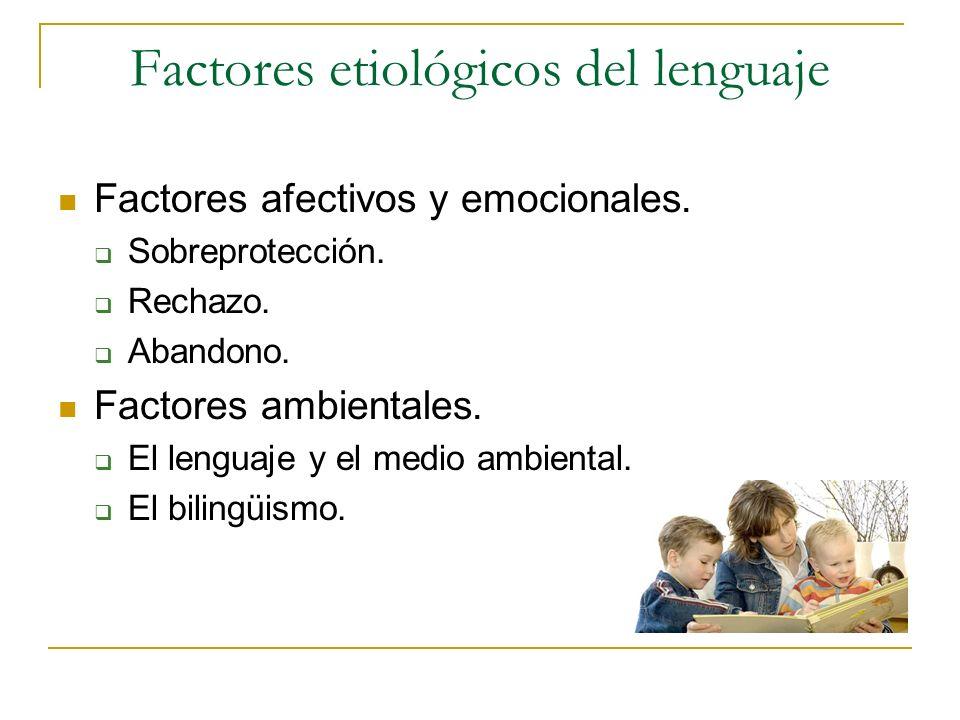 Factores etiológicos del lenguaje Factores afectivos y emocionales. Sobreprotección. Rechazo. Abandono. Factores ambientales. El lenguaje y el medio a