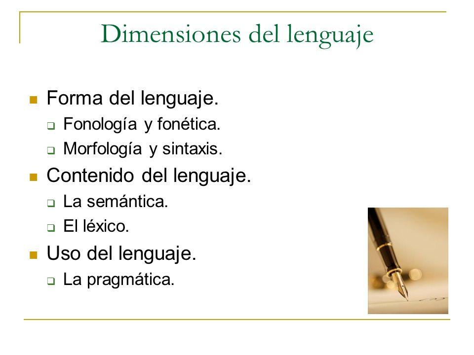 Dimensiones del lenguaje Forma del lenguaje. Fonología y fonética. Morfología y sintaxis. Contenido del lenguaje. La semántica. El léxico. Uso del len
