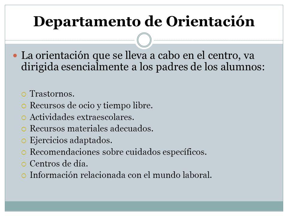 Departamento de Orientación La orientación que se lleva a cabo en el centro, va dirigida esencialmente a los padres de los alumnos: Trastornos. Recurs