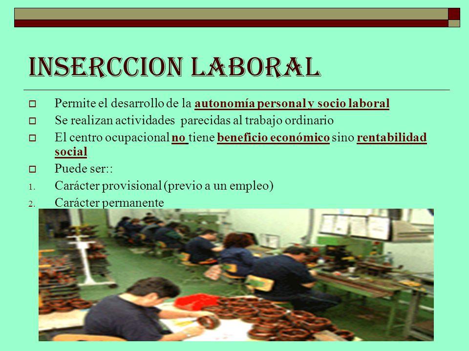 INSERCCION LABORAL Permite el desarrollo de la autonomía personal y socio laboral Se realizan actividades parecidas al trabajo ordinario El centro ocu