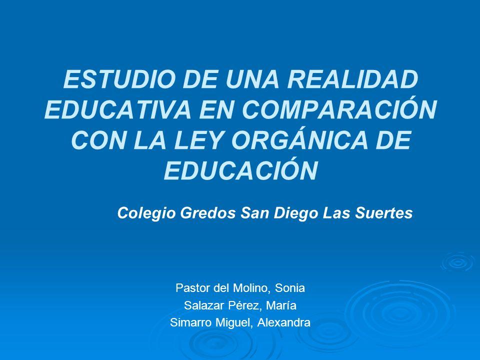 ESTUDIO DE UNA REALIDAD EDUCATIVA EN COMPARACIÓN CON LA LEY ORGÁNICA DE EDUCACIÓN Pastor del Molino, Sonia Salazar Pérez, María Simarro Miguel, Alexan