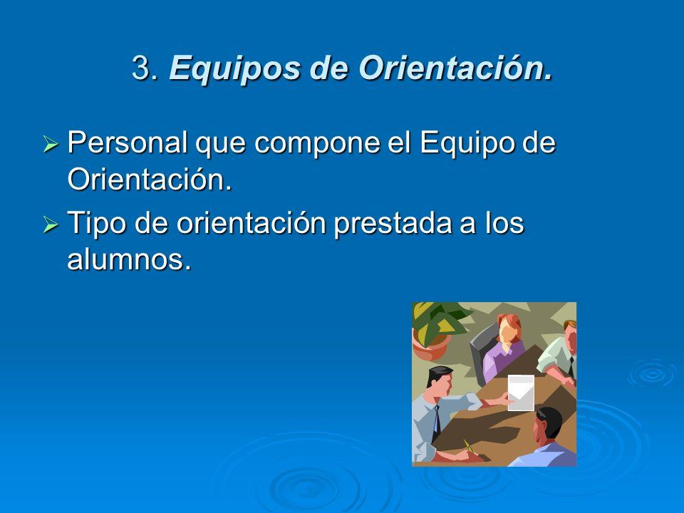 3. Equipos de Orientación. Personal que compone el Equipo de Orientación. Personal que compone el Equipo de Orientación. Tipo de orientación prestada