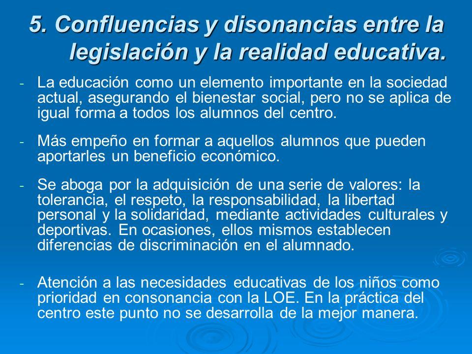 5. Confluencias y disonancias entre la legislación y la realidad educativa. - - La educación como un elemento importante en la sociedad actual, asegur
