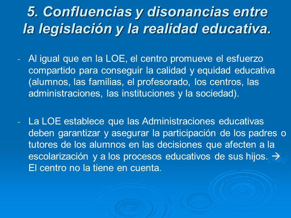 5. Confluencias y disonancias entre la legislación y la realidad educativa. - - Al igual que en la LOE, el centro promueve el esfuerzo compartido para