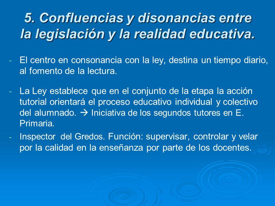 5. Confluencias y disonancias entre la legislación y la realidad educativa. - - El centro en consonancia con la ley, destina un tiempo diario, al fome