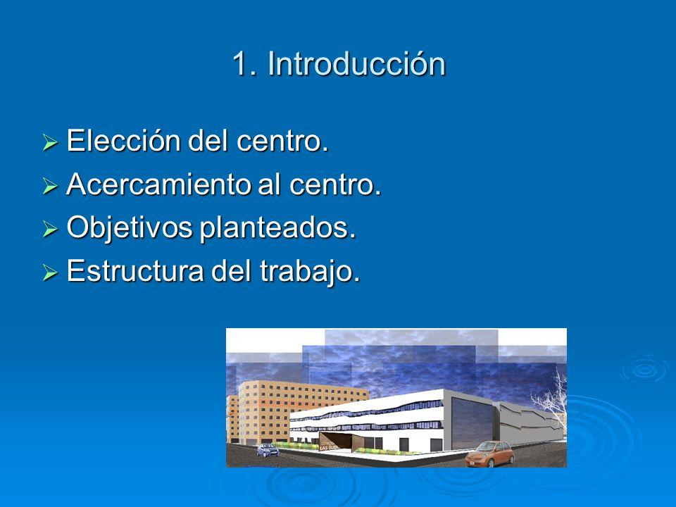 1. Introducción Elección del centro. Elección del centro. Acercamiento al centro. Acercamiento al centro. Objetivos planteados. Objetivos planteados.