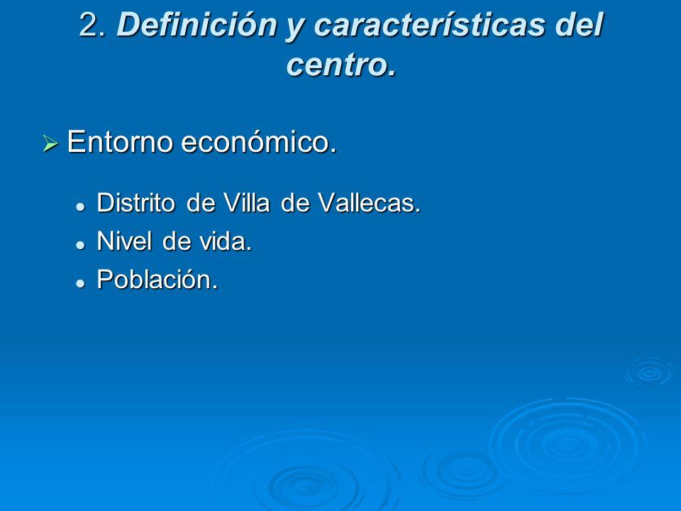 2. Definición y características del centro. Entorno económico. Entorno económico. Distrito de Villa de Vallecas. Distrito de Villa de Vallecas. Nivel
