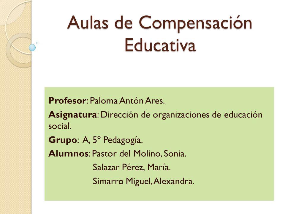 Aulas de Compensación Educativa Profesor: Paloma Antón Ares. Asignatura: Dirección de organizaciones de educación social. Grupo: A, 5º Pedagogía. Alum