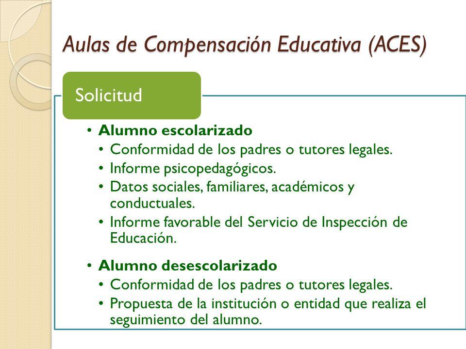 Aulas de Compensación Educativa (ACES) Alumno escolarizado Conformidad de los padres o tutores legales. Informe psicopedagógicos. Datos sociales, fami