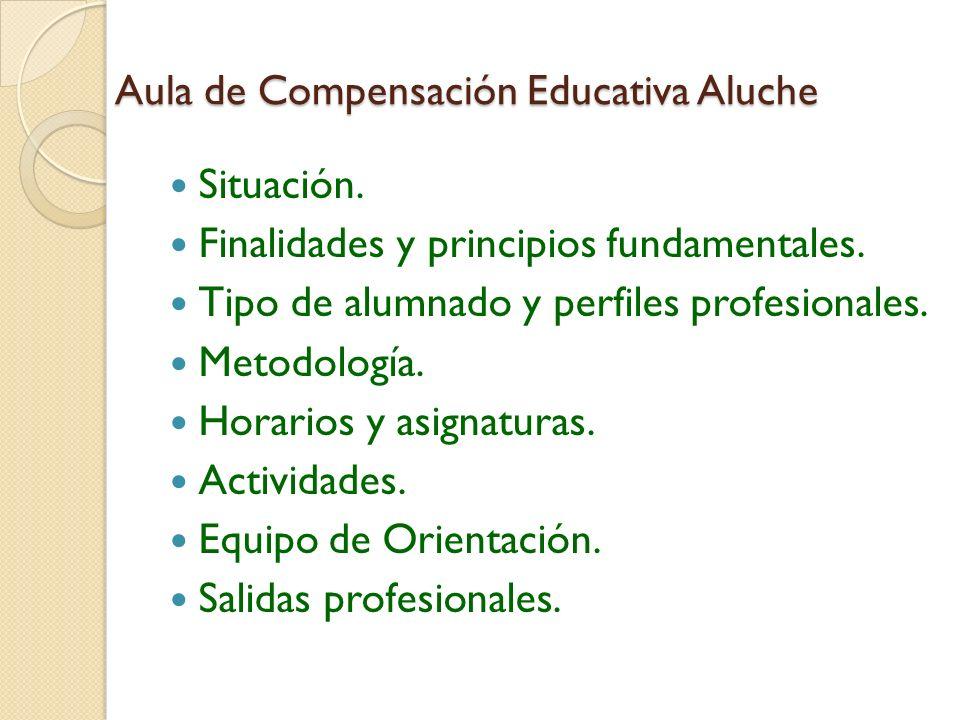 Aula de Compensación Educativa Aluche Situación. Finalidades y principios fundamentales. Tipo de alumnado y perfiles profesionales. Metodología. Horar