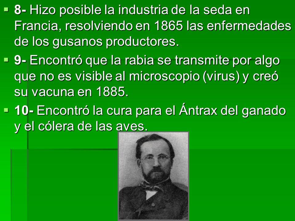 8- Hizo posible la industria de la seda en Francia, resolviendo en 1865 las enfermedades de los gusanos productores. 8- Hizo posible la industria de l