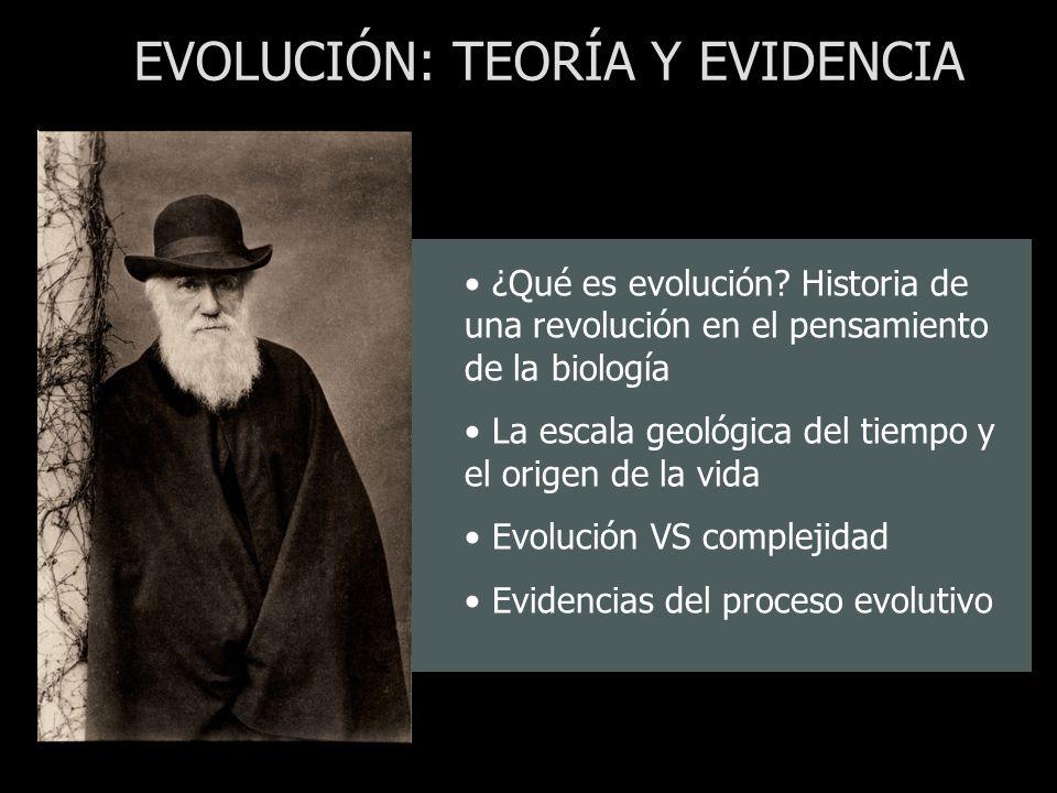 ¿Qué es evolución? Historia de una revolución en el pensamiento de la biología La escala geológica del tiempo y el origen de la vida Evolución VS comp