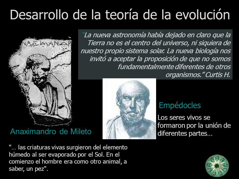 Desarrollo de la teoría de la evolución La nueva astronomía había dejado en claro que la Tierra no es el centro del universo, ni siquiera de nuestro p