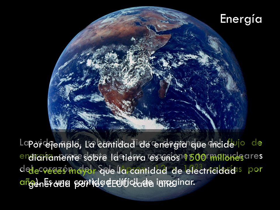 La vida aquí, sobre la Tierra depende del flujo de energía procedente de las reacciones termonucleares del corazón del Sol (Aprox. 13 x 10 23 calorías