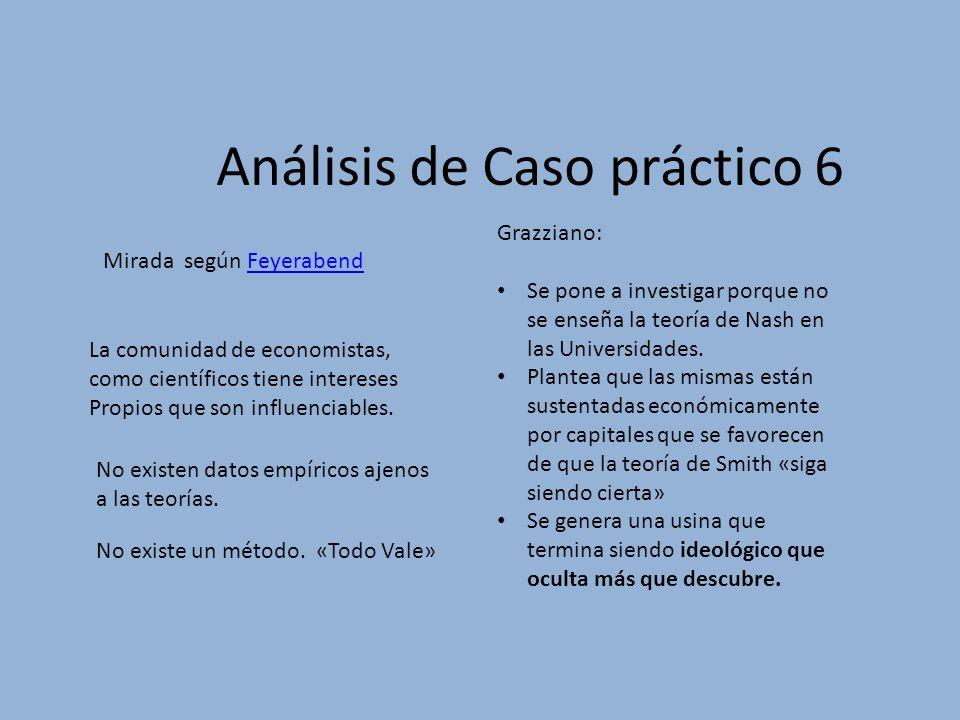 Análisis de Caso práctico 6 Mirada según FeyerabendFeyerabend Grazziano: Se pone a investigar porque no se enseña la teoría de Nash en las Universidad