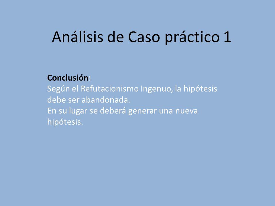Análisis de Caso práctico 1 Conclusión: Según el Refutacionismo Ingenuo, la hipótesis debe ser abandonada. En su lugar se deberá generar una nueva hip