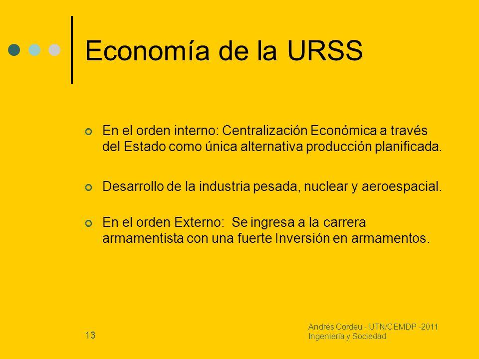 13 Economía de la URSS En el orden interno: Centralización Económica a través del Estado como única alternativa producción planificada. Desarrollo de