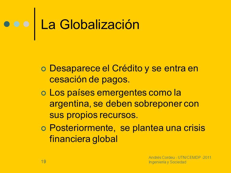 19 La Globalización Desaparece el Crédito y se entra en cesación de pagos. Los países emergentes como la argentina, se deben sobreponer con sus propio