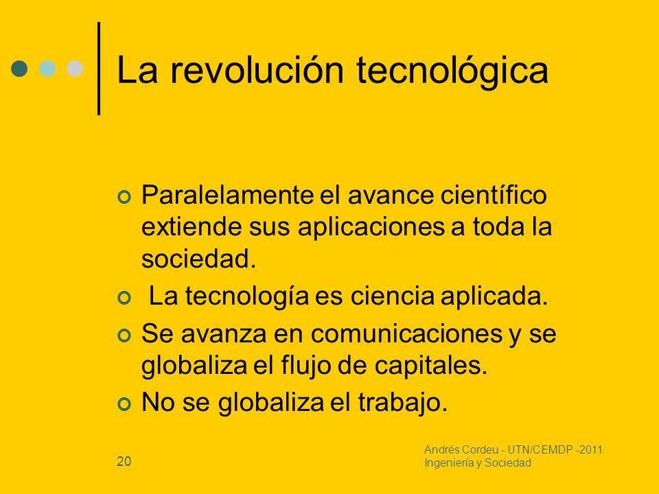 20 La revolución tecnológica Paralelamente el avance científico extiende sus aplicaciones a toda la sociedad. La tecnología es ciencia aplicada. Se av
