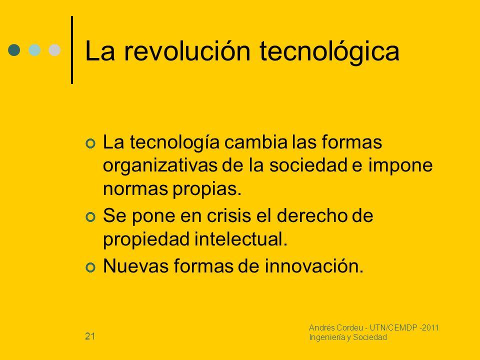 21 La revolución tecnológica La tecnología cambia las formas organizativas de la sociedad e impone normas propias. Se pone en crisis el derecho de pro
