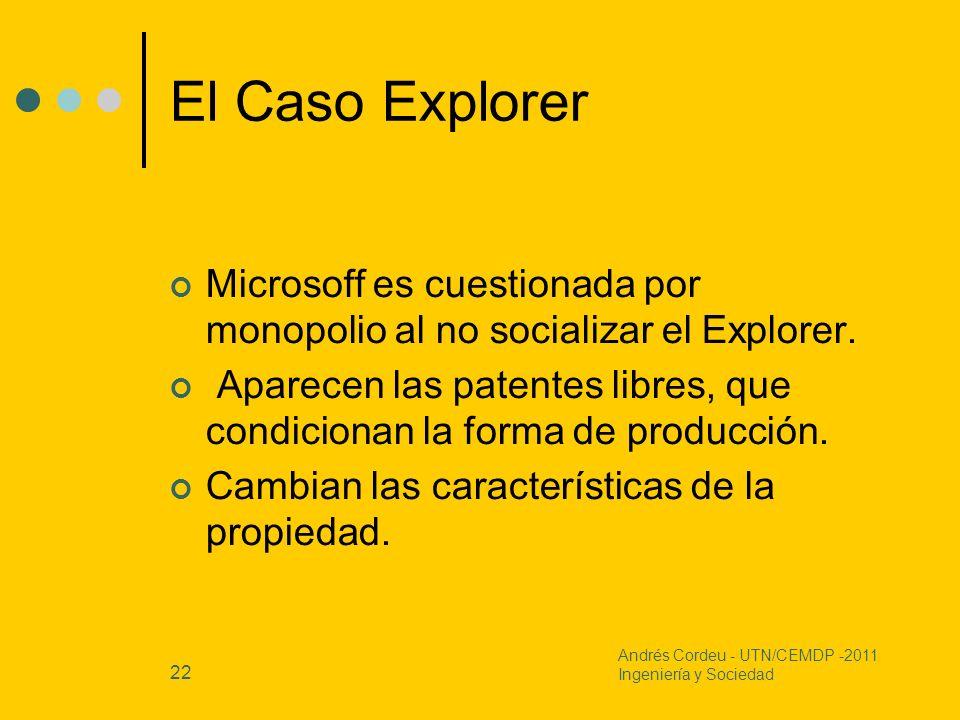 22 El Caso Explorer Microsoff es cuestionada por monopolio al no socializar el Explorer. Aparecen las patentes libres, que condicionan la forma de pro