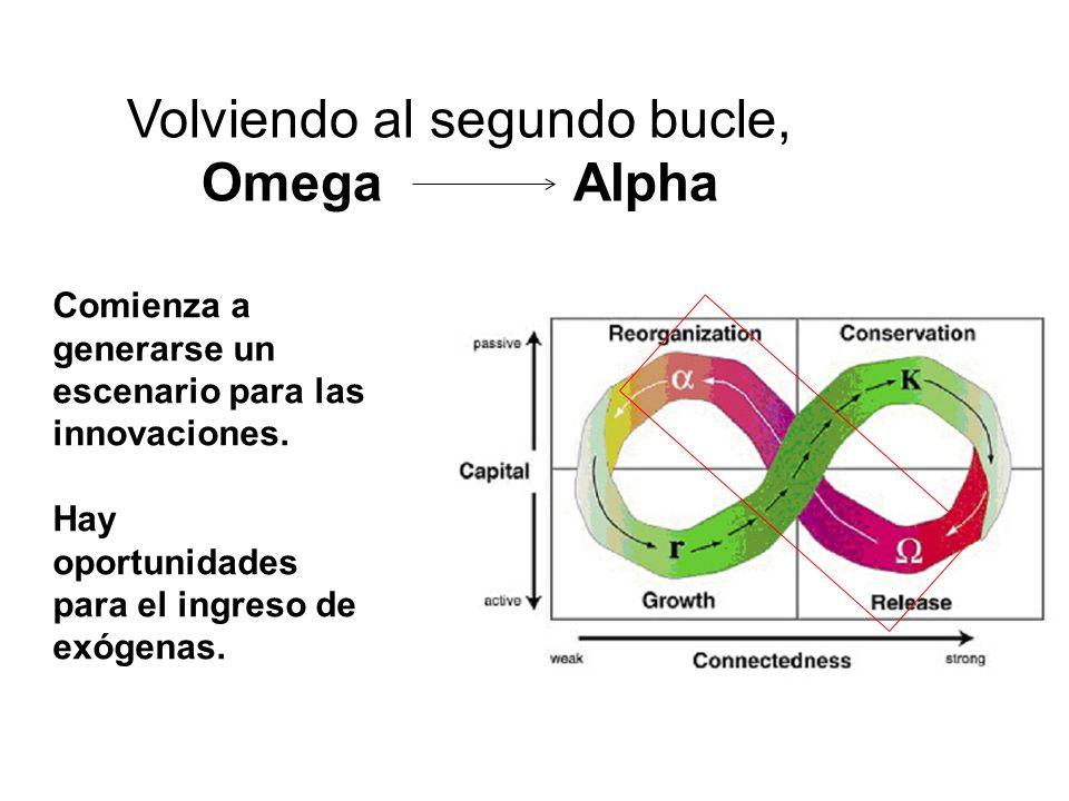 Volviendo al segundo bucle, Omega Alpha Comienza a generarse un escenario para las innovaciones. Hay oportunidades para el ingreso de exógenas.