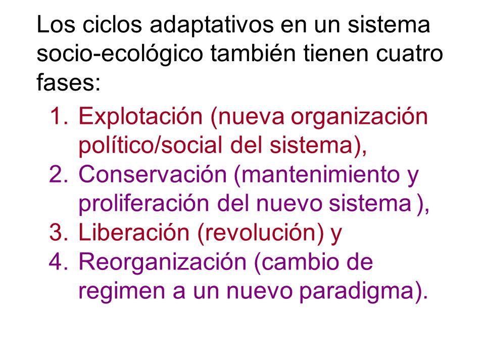 1.Explotación (nueva organización político/social del sistema), 2.Conservación (mantenimiento y proliferación del nuevo sistema ), 3.Liberación (revol