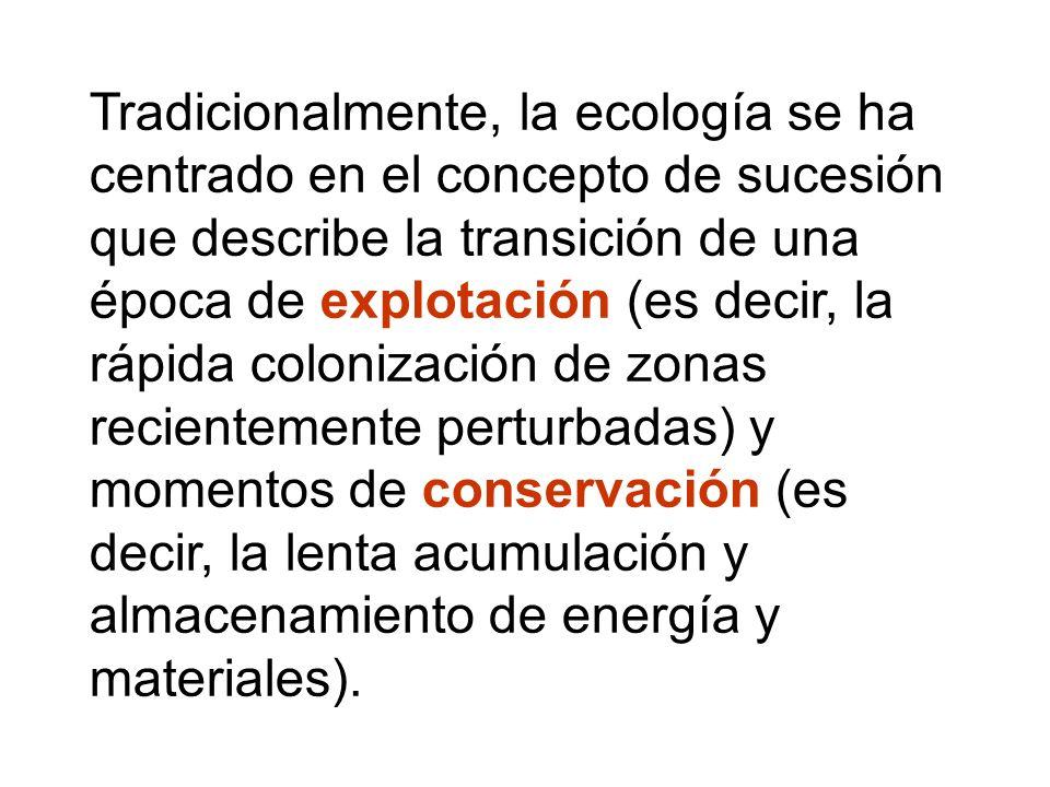 Tradicionalmente, la ecología se ha centrado en el concepto de sucesión que describe la transición de una época de explotación (es decir, la rápida co
