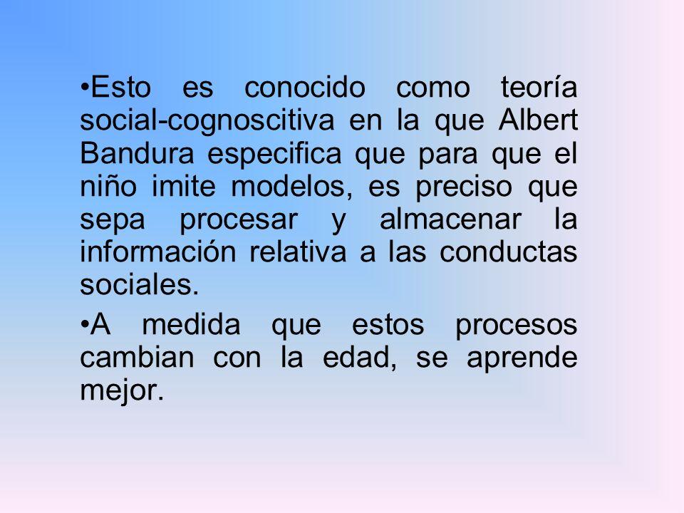 Esto es conocido como teoría social-cognoscitiva en la que Albert Bandura especifica que para que el niño imite modelos, es preciso que sepa procesar
