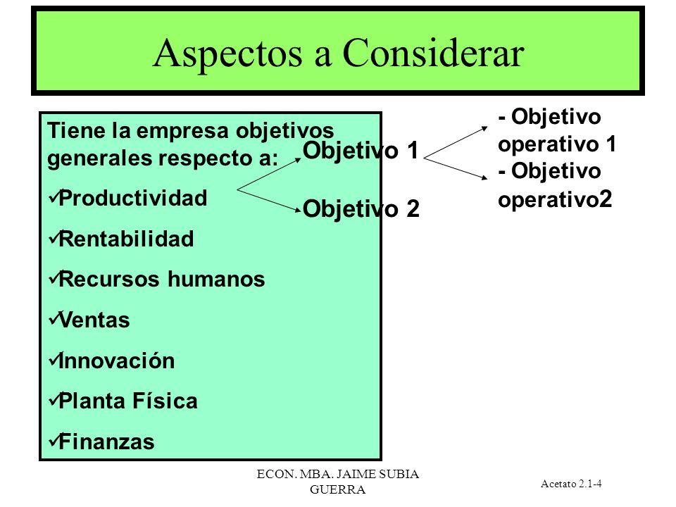 ECON. MBA. JAIME SUBIA GUERRA CONCEPTOS BASICOS VARIABLE: representación cuantitativa o cualitativa de una característica, la cual asumirá distintos v