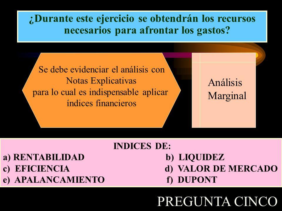 ¿Durante este ejercicio se obtendrán los recursos necesarios para afrontar los gastos? Se debe evidenciar el análisis con Notas Explicativas para lo c