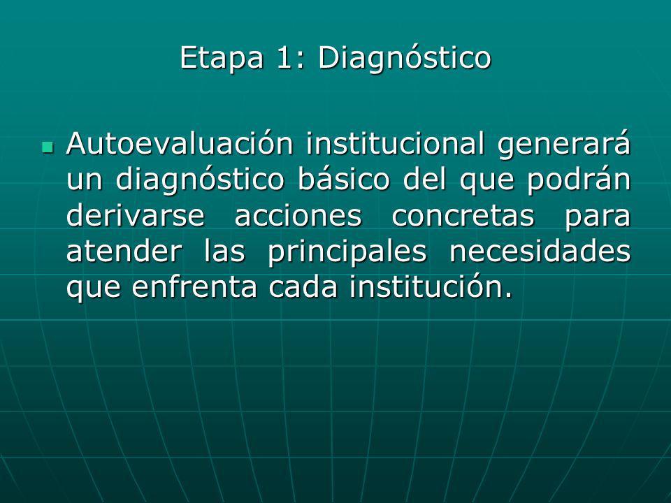 Etapa 1: Diagnóstico Autoevaluación institucional generará un diagnóstico básico del que podrán derivarse acciones concretas para atender las principa