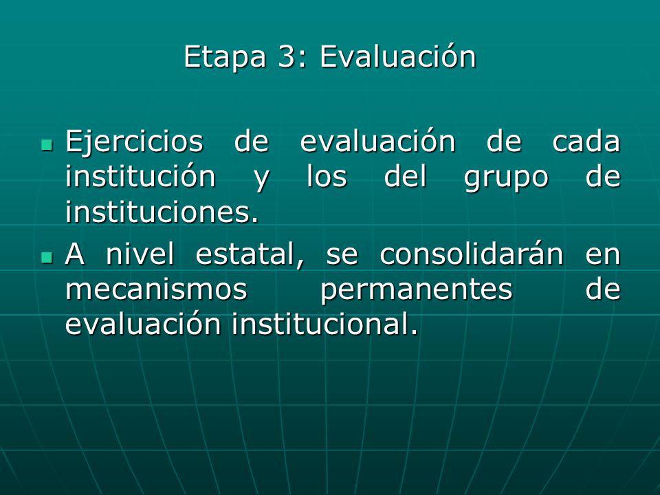 Etapa 3: Evaluación Ejercicios de evaluación de cada institución y los del grupo de instituciones. Ejercicios de evaluación de cada institución y los