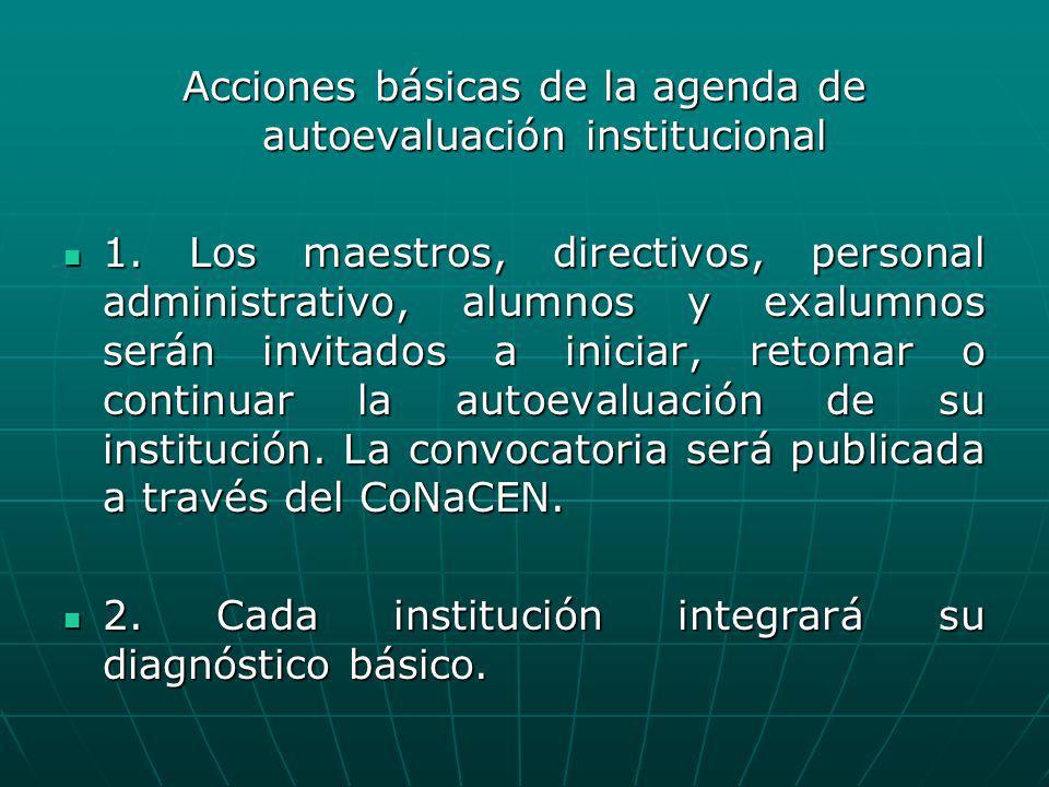 Acciones básicas de la agenda de autoevaluación institucional 1. Los maestros, directivos, personal administrativo, alumnos y exalumnos serán invitado