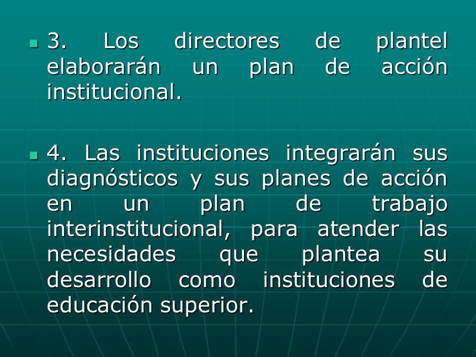 3. Los directores de plantel elaborarán un plan de acción institucional. 3. Los directores de plantel elaborarán un plan de acción institucional. 4. L