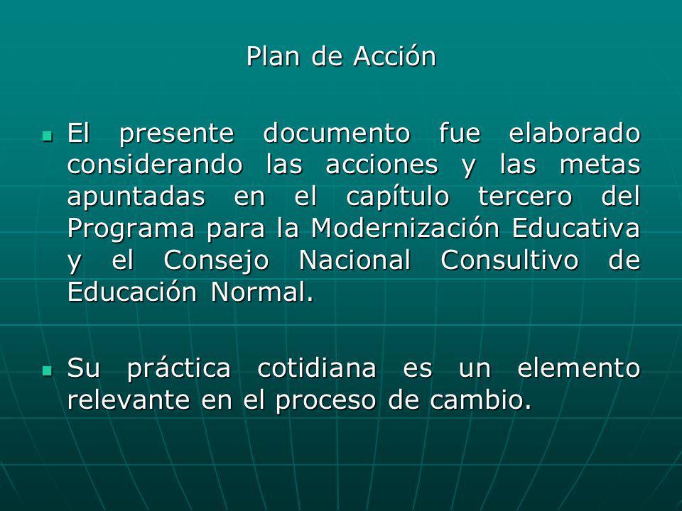 Plan de Acción El presente documento fue elaborado considerando las acciones y las metas apuntadas en el capítulo tercero del Programa para la Moderni